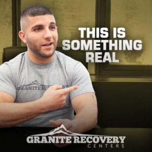 Jesse pointing and talking about addiction recovery story