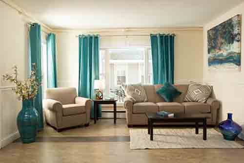 living room area with sofas at mens rehab center