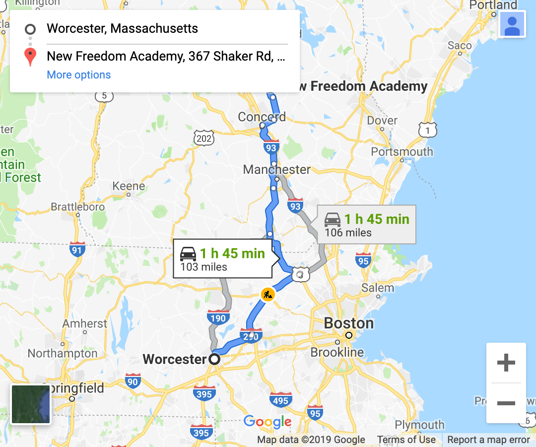 directions from central massachusetts google maps screenshot 2