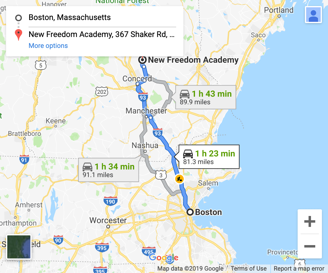 directions from eastern massachusetts google maps screenshot 2
