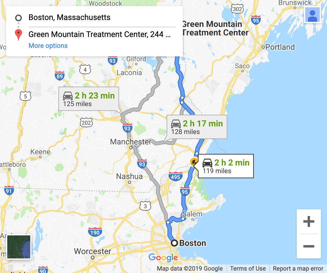 directions from eastern massachusetts google maps screenshot