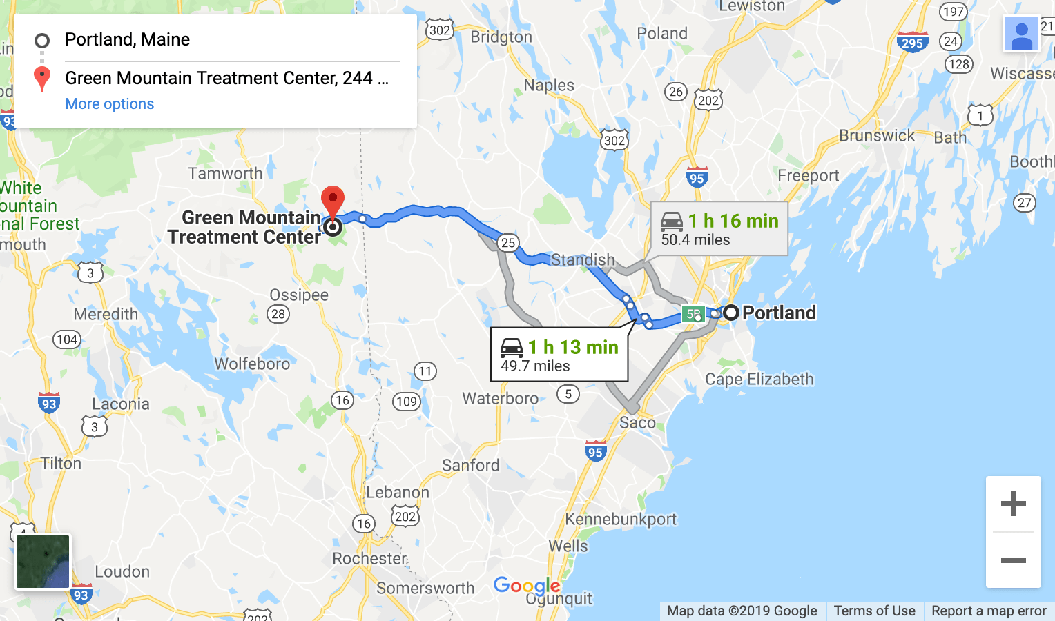 map directions from southern maine to green mountain treatment center