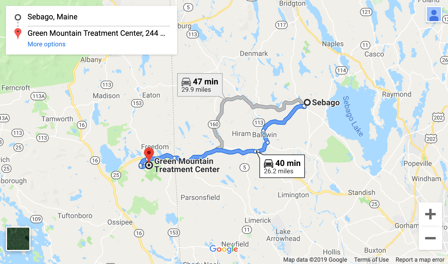 directions from western maine google maps screenshot