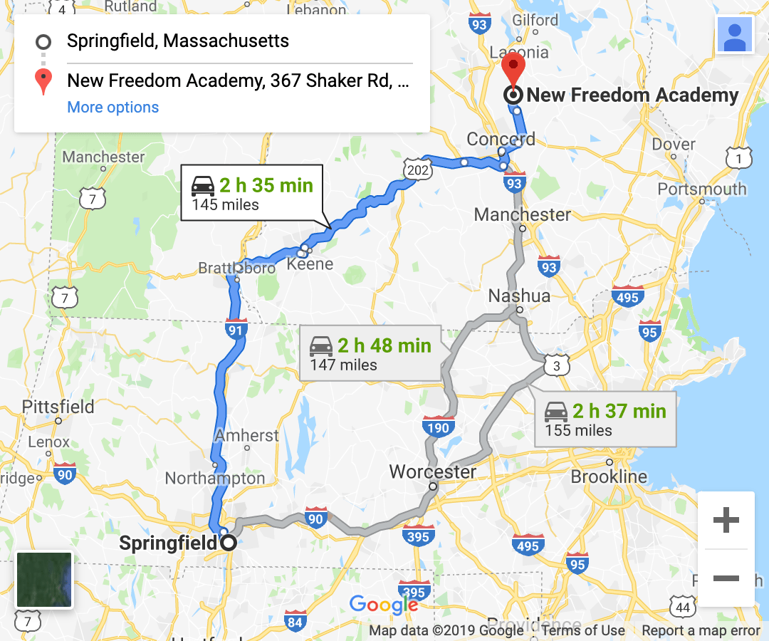 directions from western massachusetts google maps screenshot 2
