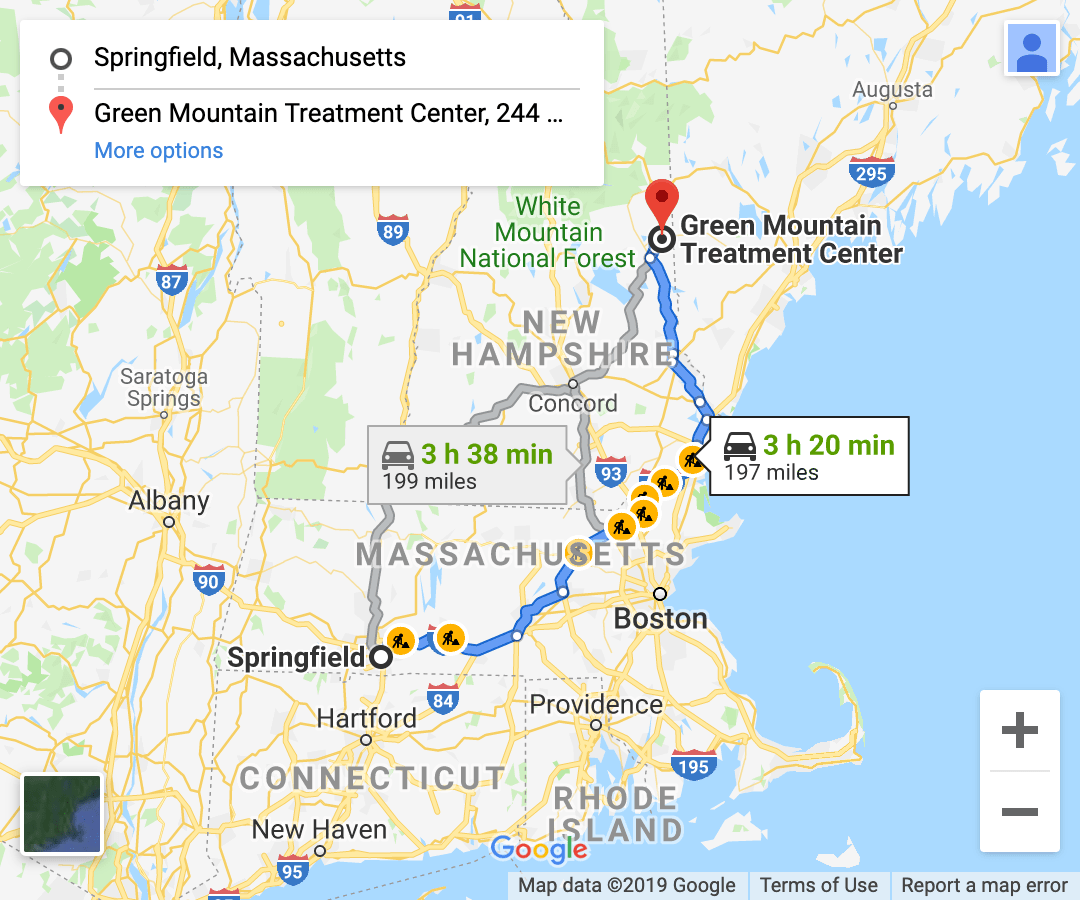 directions from western massachusetts google maps screenshot