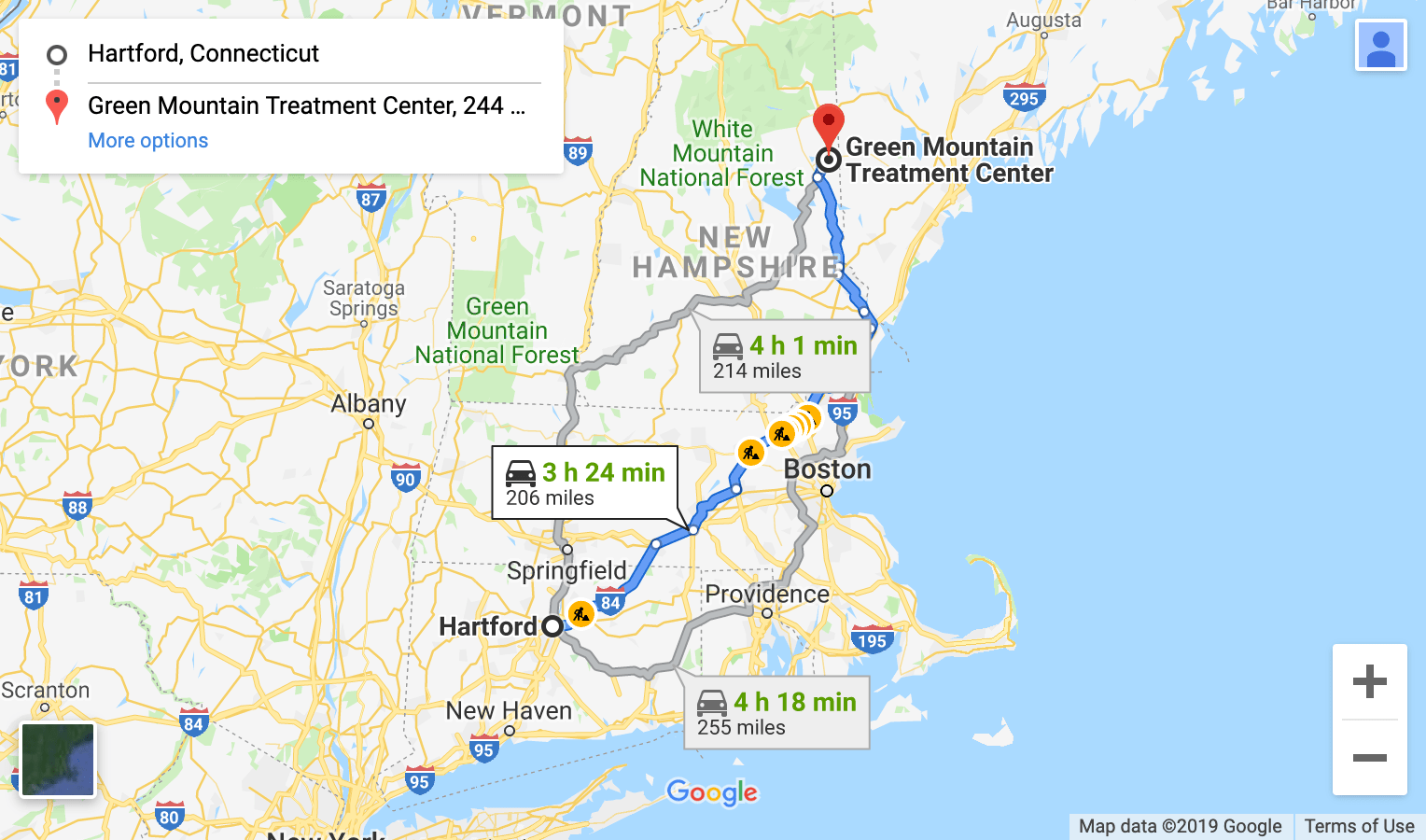 map of directions from hartford cn to green mountain treatment center drug rehab center