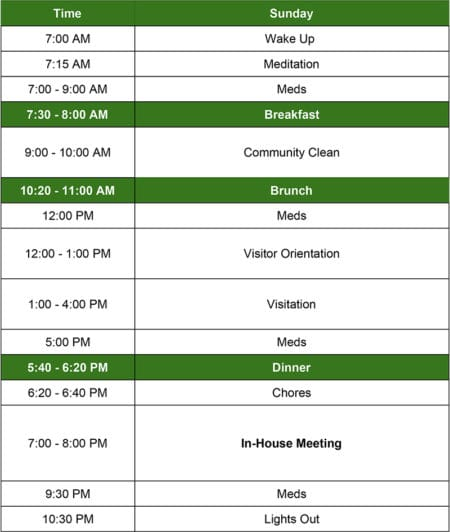 green mountain treatment center schedule for men on sunday